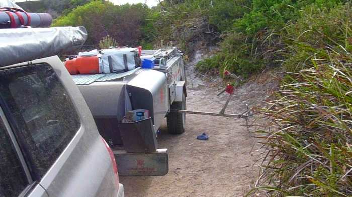 Using the folding boat trailer winch to assist in loading the boat